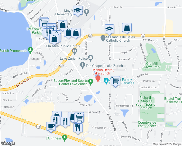 map of restaurants, bars, coffee shops, grocery stores, and more near 525 Congress Parkway in Crystal Lake