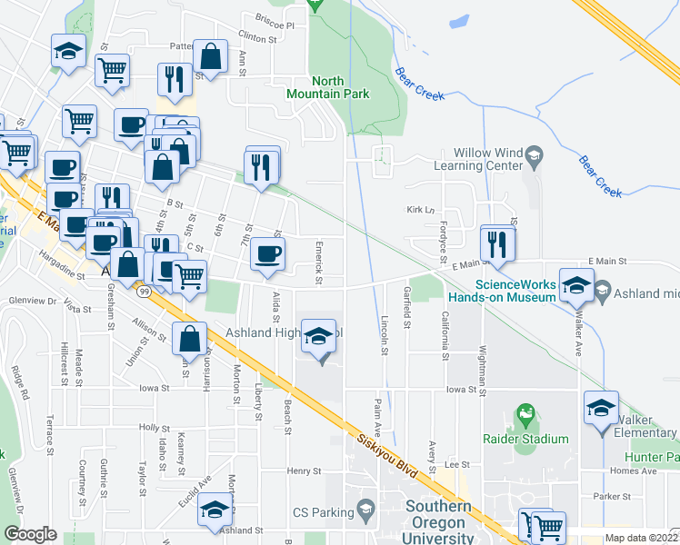 map of restaurants, bars, coffee shops, grocery stores, and more near 51 North Mountain Avenue in Ashland