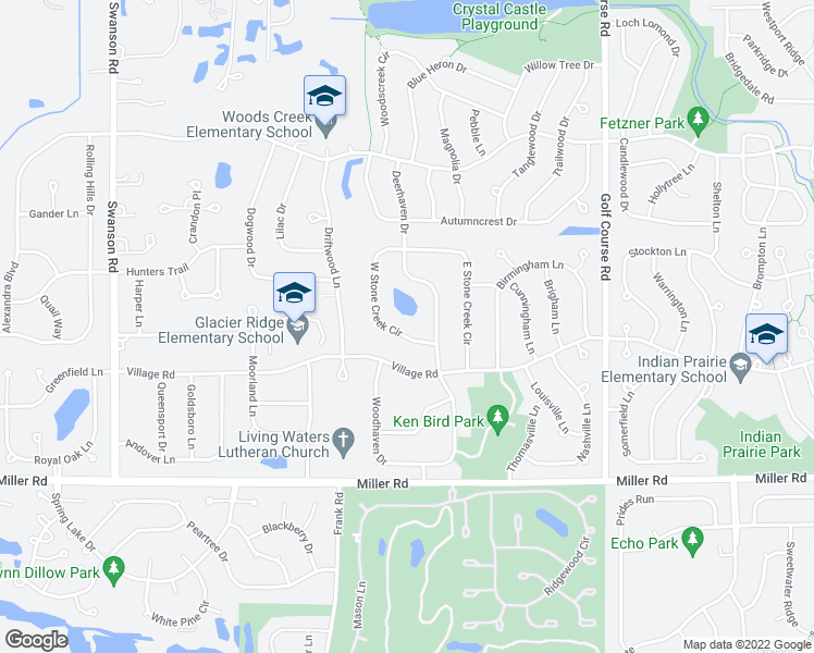 map of restaurants, bars, coffee shops, grocery stores, and more near 1089 West Stone Creek Circle in Crystal Lake
