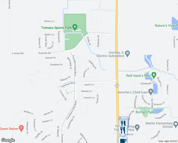 map of restaurants, bars, coffee shops, grocery stores, and more near Zenk Court in Huntley