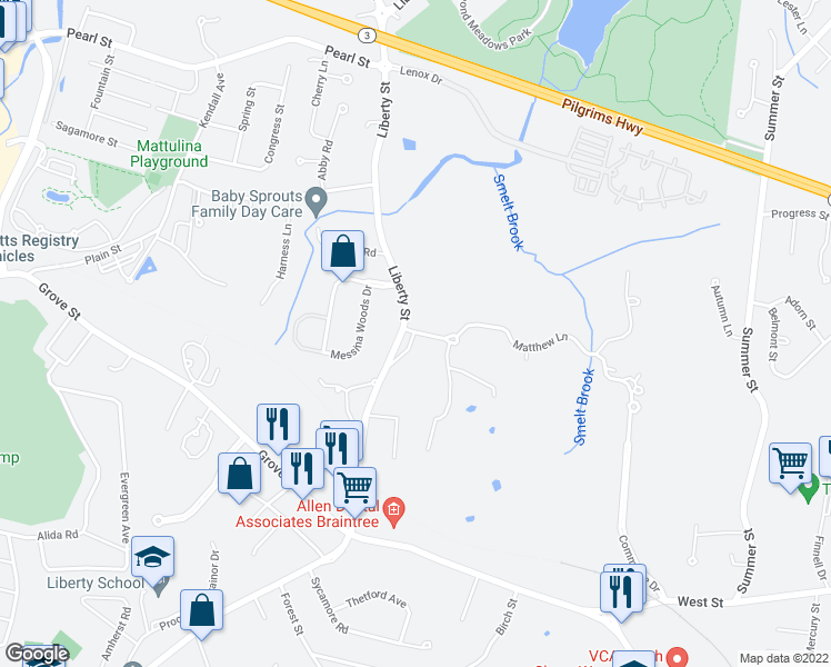 map of restaurants, bars, coffee shops, grocery stores, and more near 101 Matthew Lane in Braintree