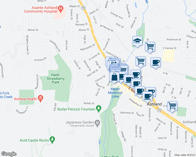 map of restaurants, bars, coffee shops, grocery stores, and more near 127 Church Street in Ashland