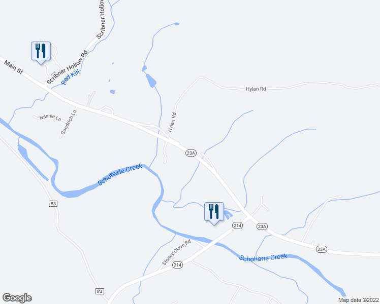 map of restaurants, bars, coffee shops, grocery stores, and more near Main Street in Prattsville