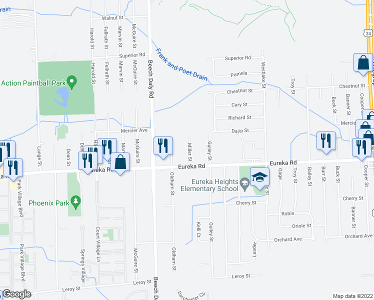 map of restaurants, bars, coffee shops, grocery stores, and more near 14746 Miller Street in Taylor