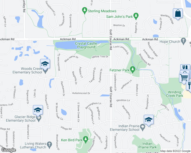 map of restaurants, bars, coffee shops, grocery stores, and more near 1499 Tanglewood Drive in Crystal Lake