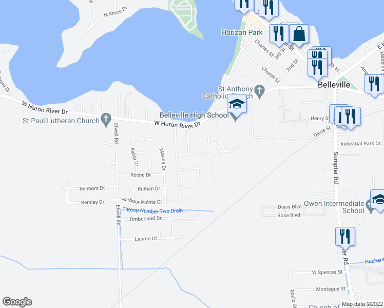 map of restaurants, bars, coffee shops, grocery stores, and more near Light Tower Drive in Belleville