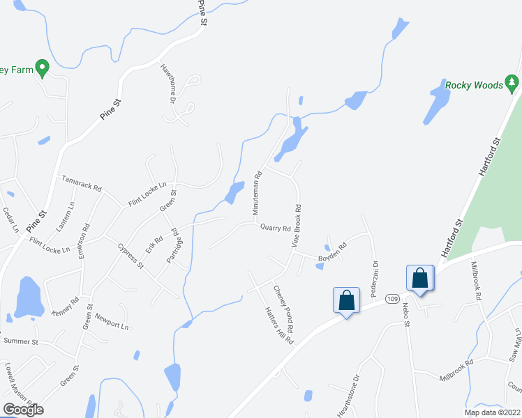 map of restaurants, bars, coffee shops, grocery stores, and more near 5 Minuteman Road in Medfield