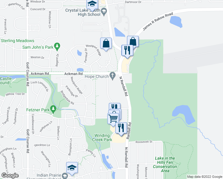map of restaurants, bars, coffee shops, grocery stores, and more near 1395 Skyridge Drive in Crystal Lake