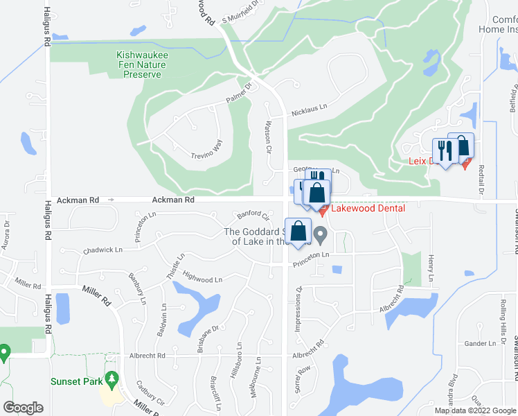 map of restaurants, bars, coffee shops, grocery stores, and more near 3310 Banford Circle in Lake in the Hills