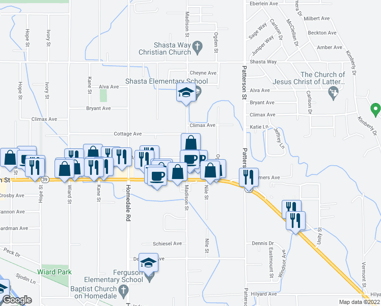 map of restaurants, bars, coffee shops, grocery stores, and more near 2161 Madison Street in Klamath Falls