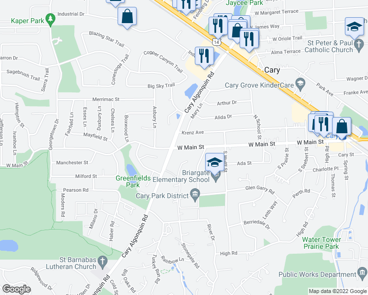 map of restaurants, bars, coffee shops, grocery stores, and more near 682 West Main Street in Cary