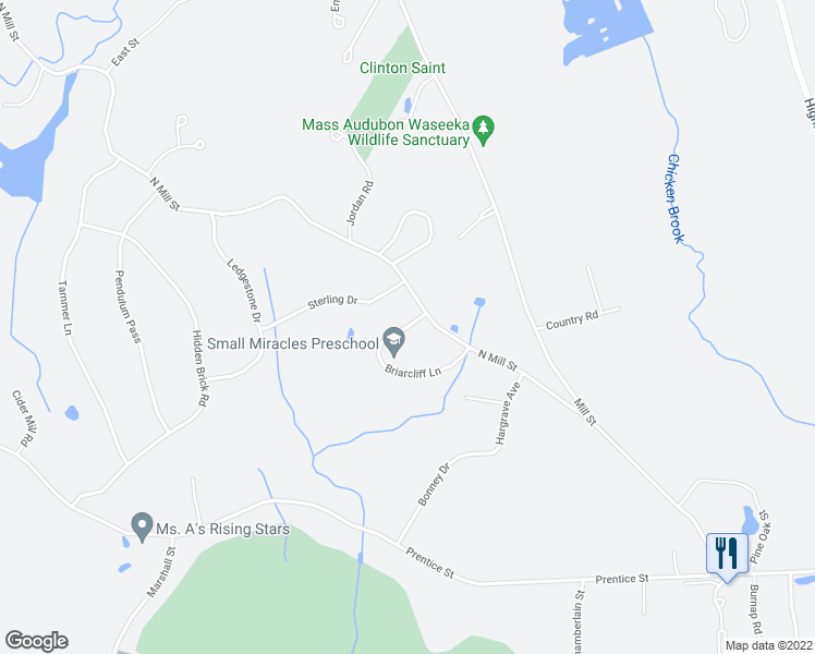 map of restaurants, bars, coffee shops, grocery stores, and more near Briarcliff Lane in Holliston
