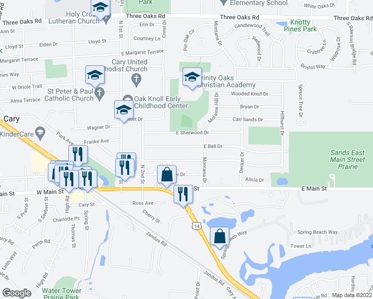 map of restaurants, bars, coffee shops, grocery stores, and more near 225 East Bell Drive in Cary