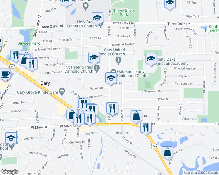 map of restaurants, bars, coffee shops, grocery stores, and more near 398 North 1st Street in Cary