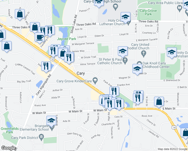 map of restaurants, bars, coffee shops, grocery stores, and more near 349 Park Avenue in Cary