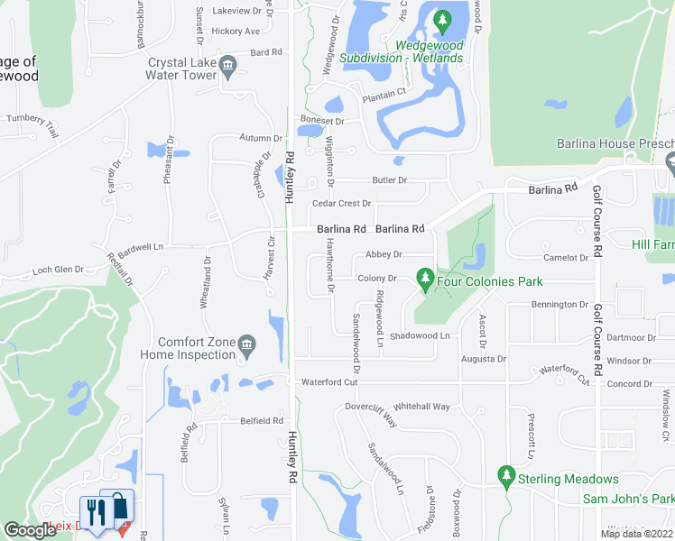 map of restaurants, bars, coffee shops, grocery stores, and more near 935 Hawthorne Drive in Crystal Lake