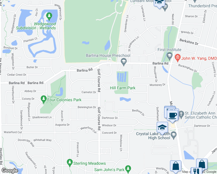 map of restaurants, bars, coffee shops, grocery stores, and more near 935 Golf Course Road in Crystal Lake