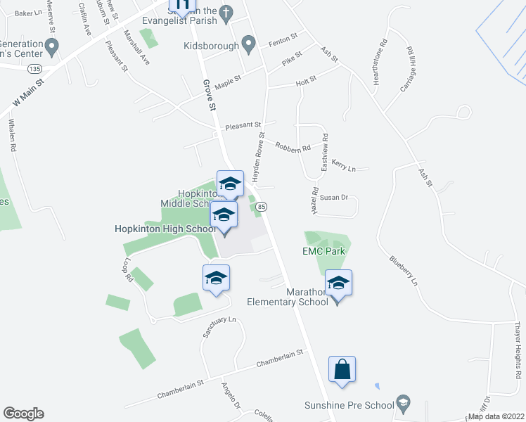 map of restaurants, bars, coffee shops, grocery stores, and more near 89 Hayden Rowe Street in Hopkinton
