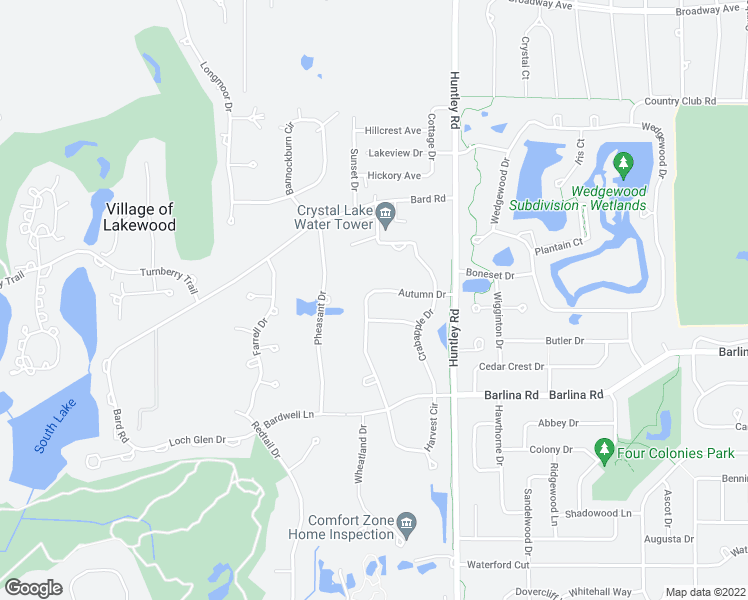 map of restaurants, bars, coffee shops, grocery stores, and more near 1106 Autumn Drive in Crystal Lake