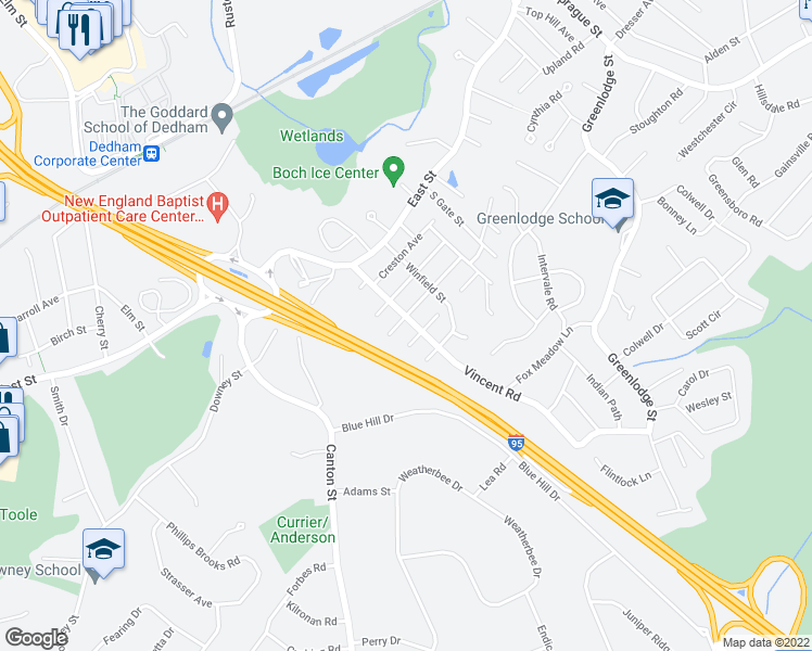 map of restaurants, bars, coffee shops, grocery stores, and more near 63 Vincent Road in Dedham