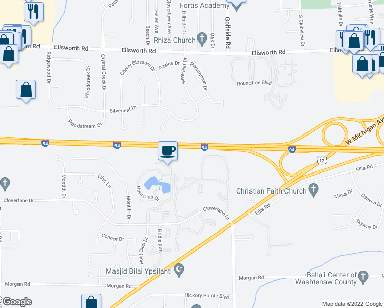 map of restaurants, bars, coffee shops, grocery stores, and more near 4907 Cloverlane Drive in Ypsilanti
