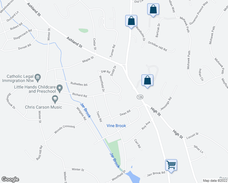 map of restaurants, bars, coffee shops, grocery stores, and more near 70 Dodd Drive in Holliston