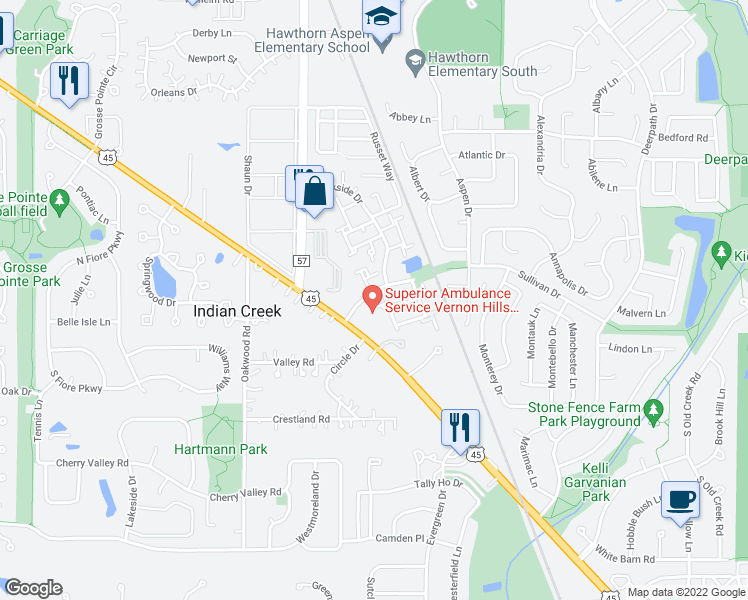 map of restaurants, bars, coffee shops, grocery stores, and more near 410 Ashwood Court in Vernon Hills