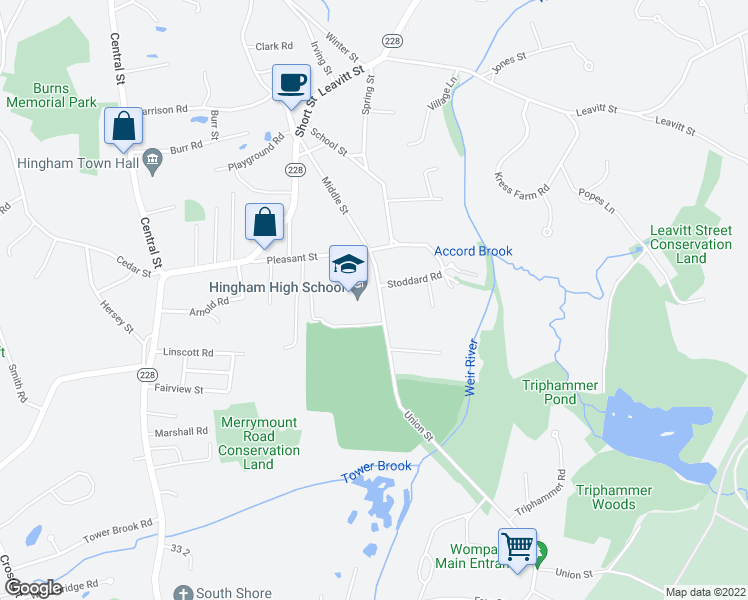 map of restaurants, bars, coffee shops, grocery stores, and more near 1-15 Union Street in Hingham