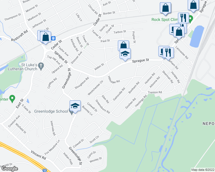 map of restaurants, bars, coffee shops, grocery stores, and more near 17 Fresno Road in Dedham