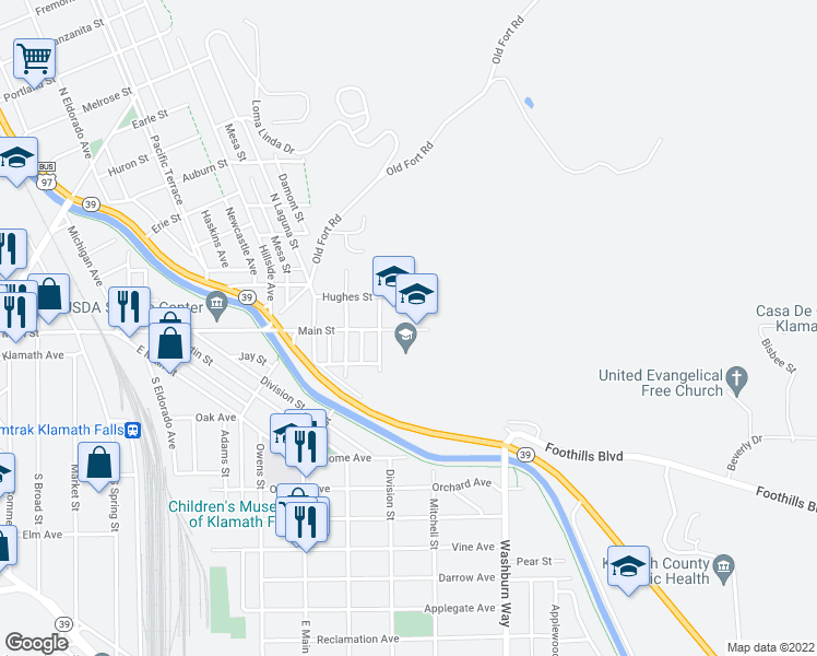 map of restaurants, bars, coffee shops, grocery stores, and more near 2400-2598 Main Street in Klamath Falls