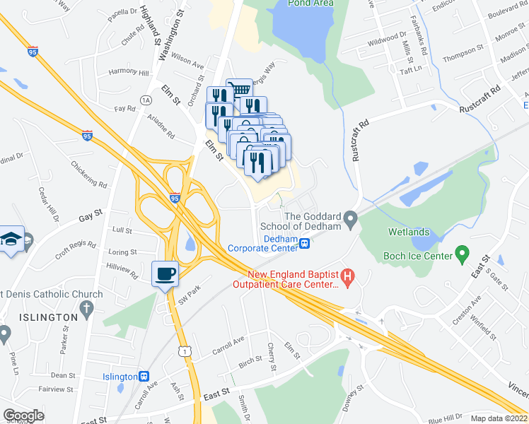 map of restaurants, bars, coffee shops, grocery stores, and more near 1110 Station Circle in Dedham
