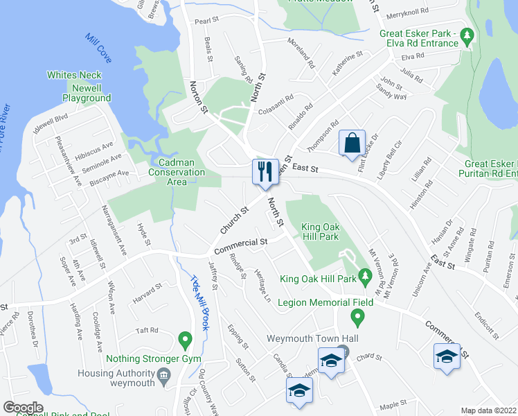 map of restaurants, bars, coffee shops, grocery stores, and more near 585 North Street in Weymouth