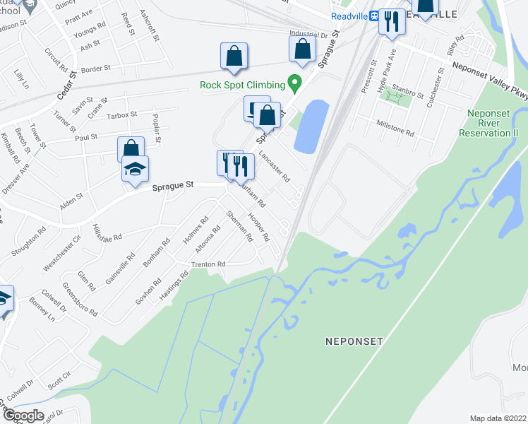 map of restaurants, bars, coffee shops, grocery stores, and more near 59 Durham Road in Dedham