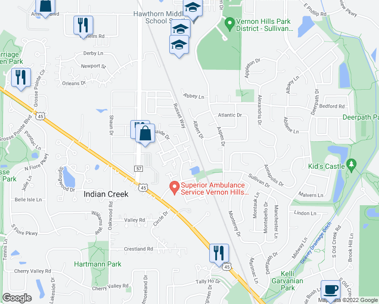 map of restaurants, bars, coffee shops, grocery stores, and more near 25 Tanwood Court in Vernon Hills