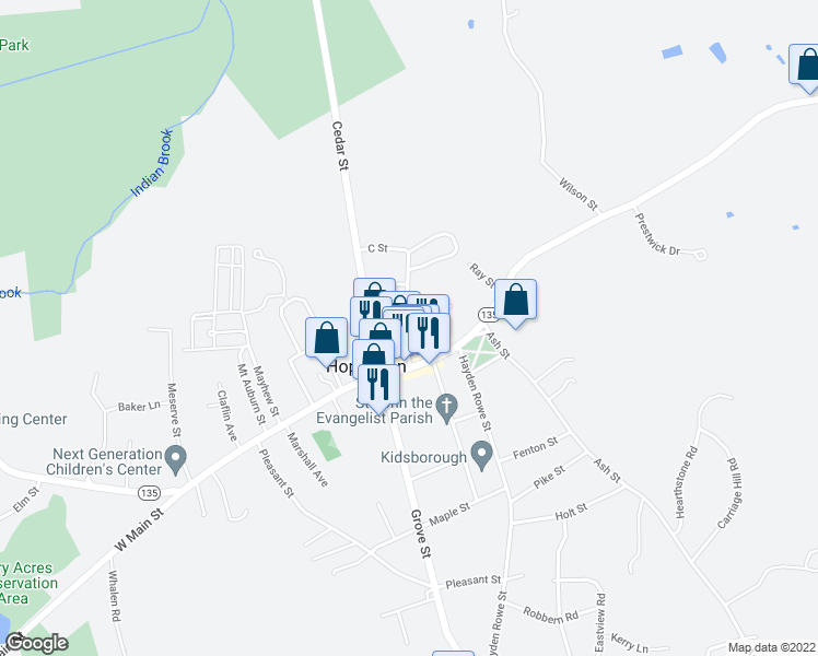 map of restaurants, bars, coffee shops, grocery stores, and more near 10 Walcott Street in Hopkinton