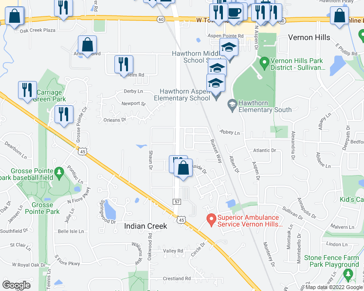 map of restaurants, bars, coffee shops, grocery stores, and more near 314 Farmingdale Circle in Vernon Hills