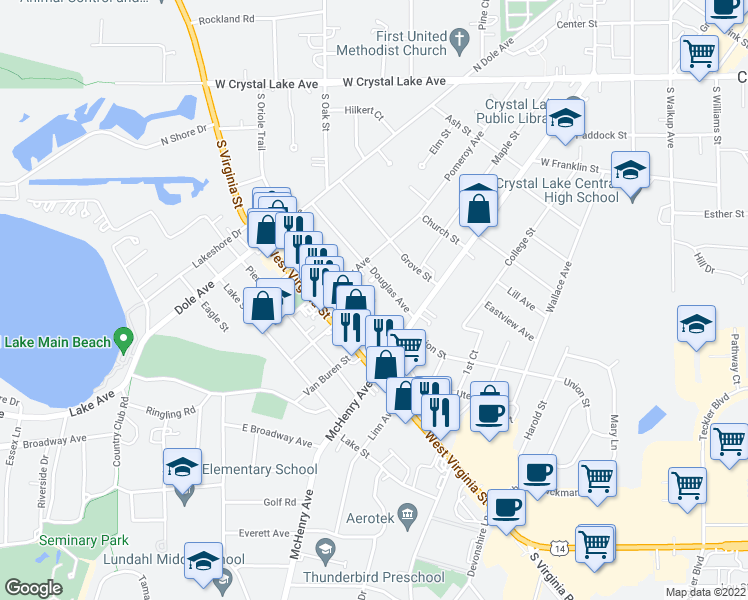 map of restaurants, bars, coffee shops, grocery stores, and more near 0 Crystal Lake Plaza in Crystal Lake