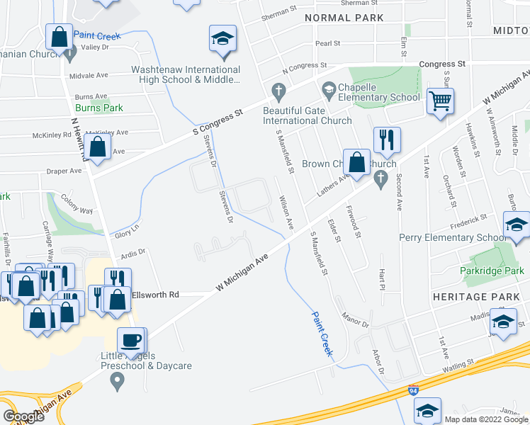 map of restaurants, bars, coffee shops, grocery stores, and more near 271 Stevens Drive in Ypsilanti