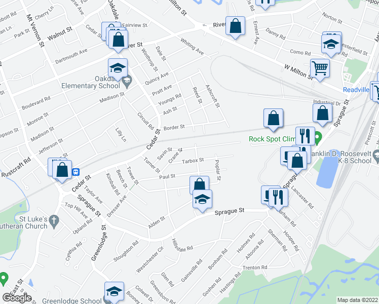 map of restaurants, bars, coffee shops, grocery stores, and more near 71 Crane Street in Dedham