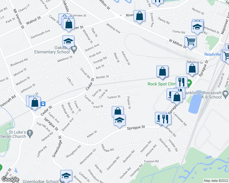 map of restaurants, bars, coffee shops, grocery stores, and more near 19 Etna Road in Dedham