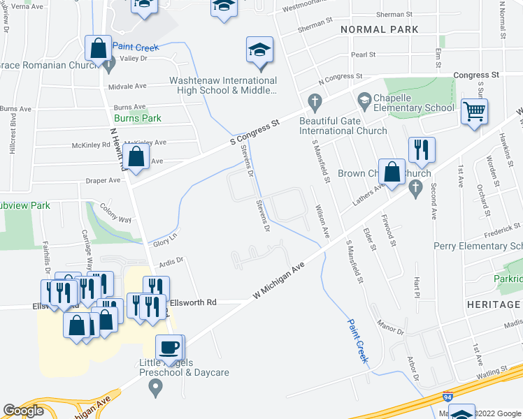map of restaurants, bars, coffee shops, grocery stores, and more near 280 Stevens Drive in Ypsilanti