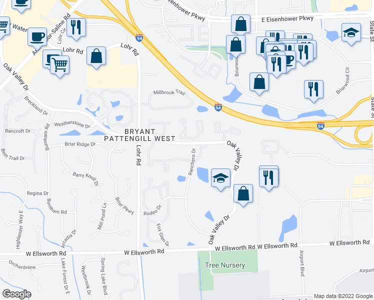 map of restaurants, bars, coffee shops, grocery stores, and more near 1315 Oak Valley Drive in Ann Arbor