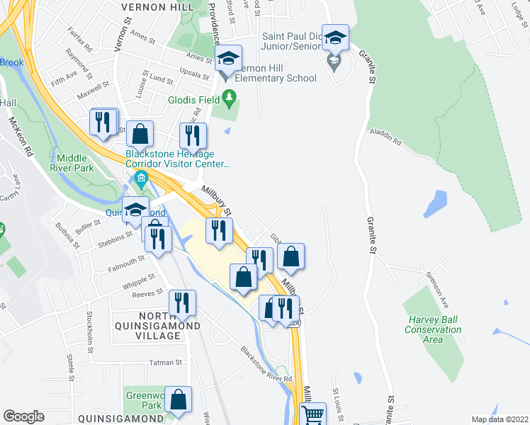 map of restaurants, bars, coffee shops, grocery stores, and more near 11 Gibbs Street in Worcester