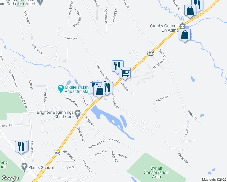 map of restaurants, bars, coffee shops, grocery stores, and more near 19 Pine Grove Drive in South Hadley