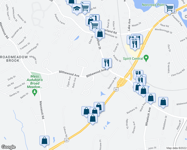 map of restaurants, bars, coffee shops, grocery stores, and more near 12 Weatherstone Drive in Worcester