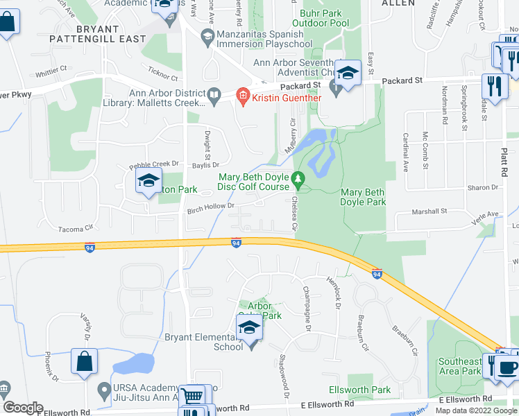 map of restaurants, bars, coffee shops, grocery stores, and more near 3050 Birch Hollow Drive in Ann Arbor