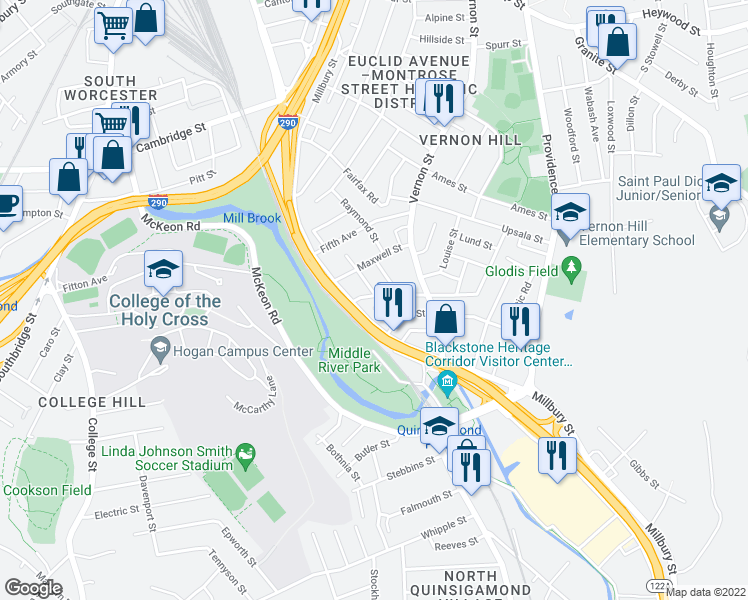 map of restaurants, bars, coffee shops, grocery stores, and more near 5 Esther Street in Worcester