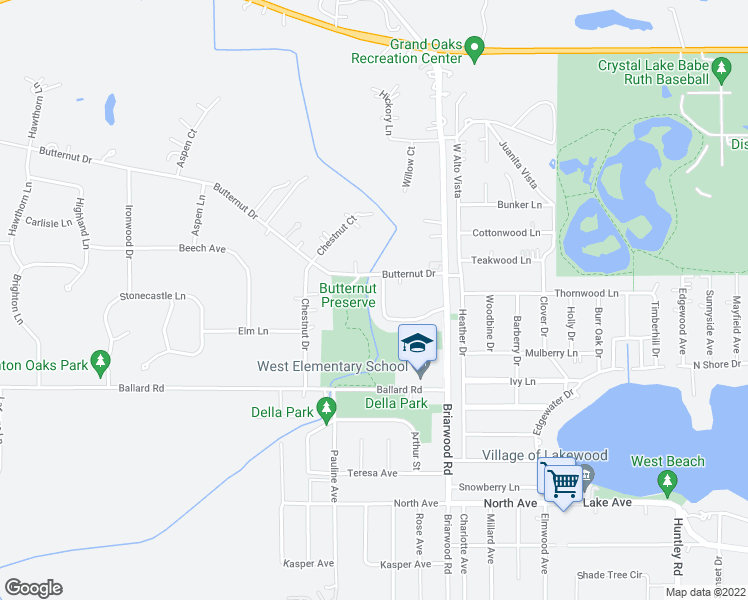 map of restaurants, bars, coffee shops, grocery stores, and more near 32 Briarwood Circle in Crystal Lake