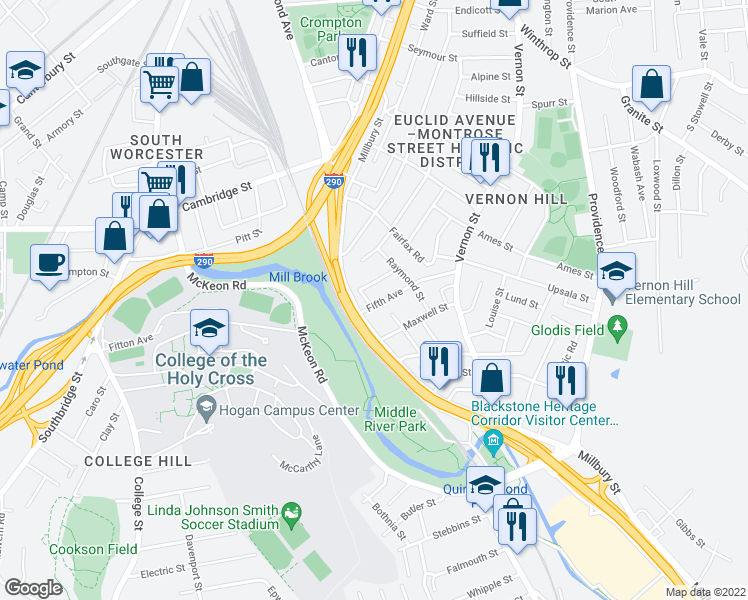map of restaurants, bars, coffee shops, grocery stores, and more near 5 Fifth Avenue in Worcester