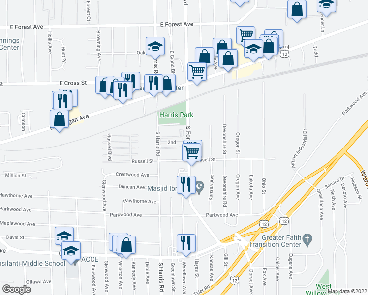map of restaurants, bars, coffee shops, grocery stores, and more near 311 1st in Ypsilanti Township
